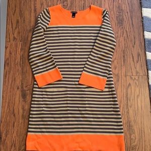 Sweater dress, long sleeve, striped with pockets